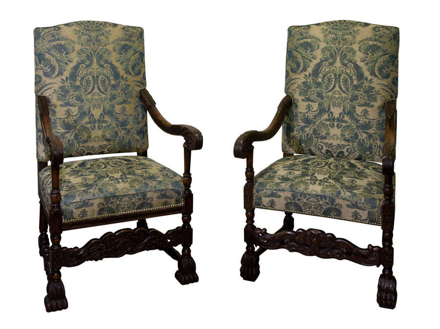 A pair of 17thc style Arm Chairs