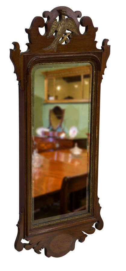 A Chippendale style mahogany & parcel gilt mirror c1900