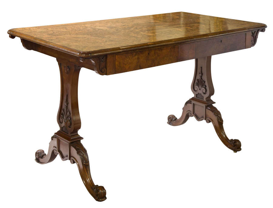 Victorian walnut library table c1865