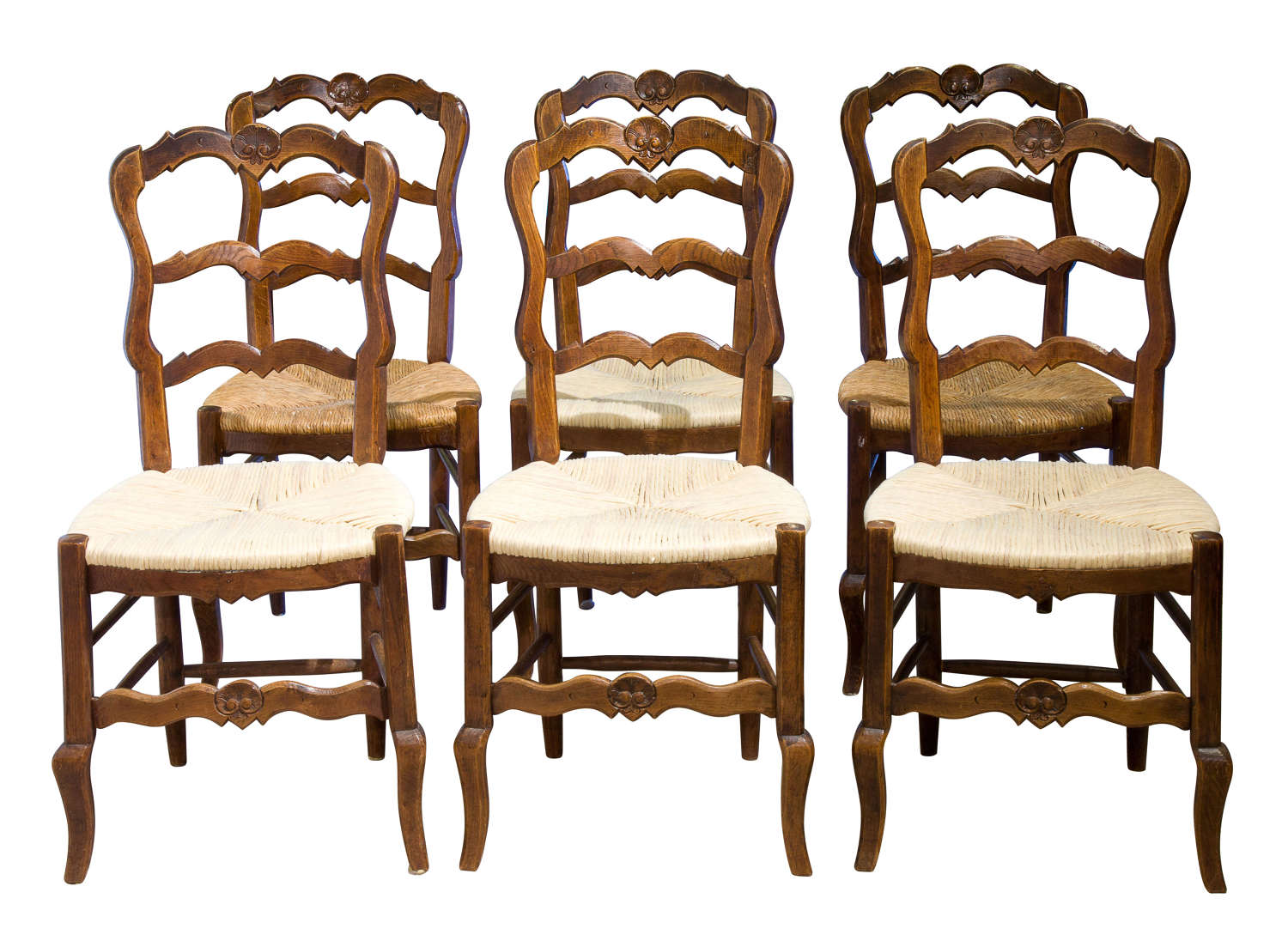 Set of 6 French oak ladderback chairs