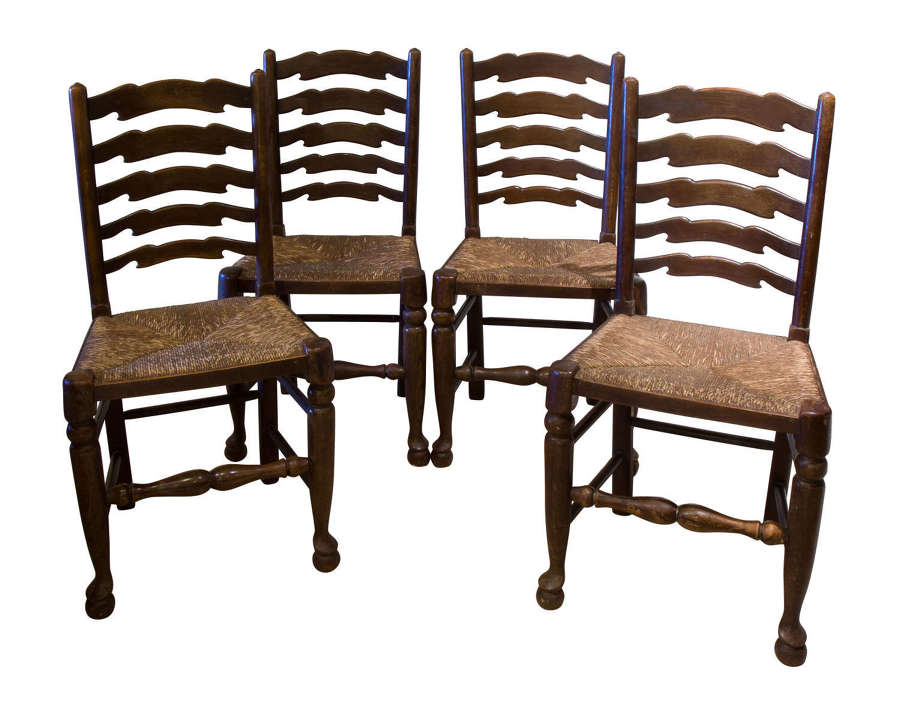 Set of 4 country ladderback chairs circa 1920