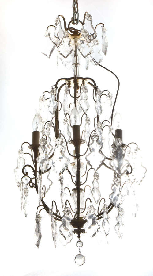 French Louis XV style cage chandelier