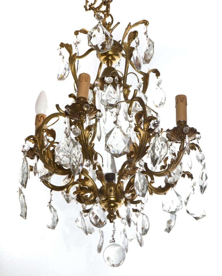Gilt metal and cut glass chandelier circa 1920