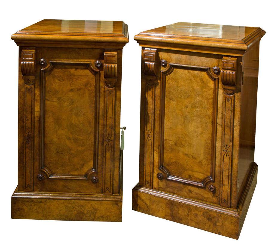 A fine pair of Victorian walnut pedestals c1870