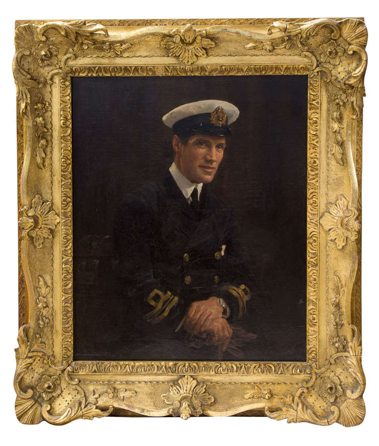 A fine oil painting of a Royal Navy Lieutenant Commander