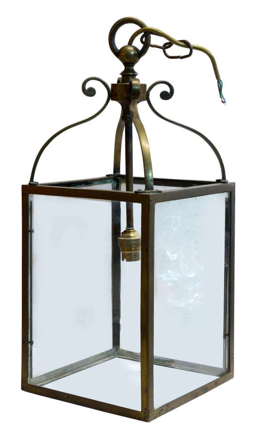 Small brass hanging hall lantern circa1900