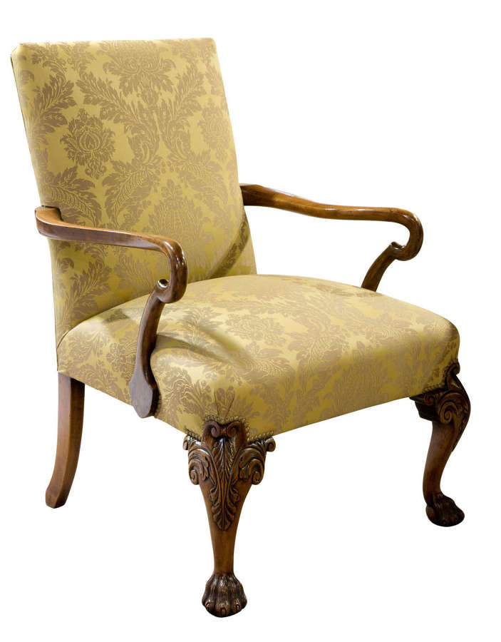 19thc Geo II style walnut Gainsborough chair