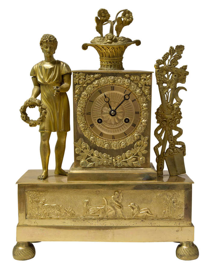 19thc French ormolu mantel clock circa 1830 with original gilding