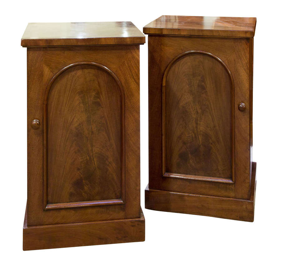 Pair of Victorian flame mahogany bedside cabinets