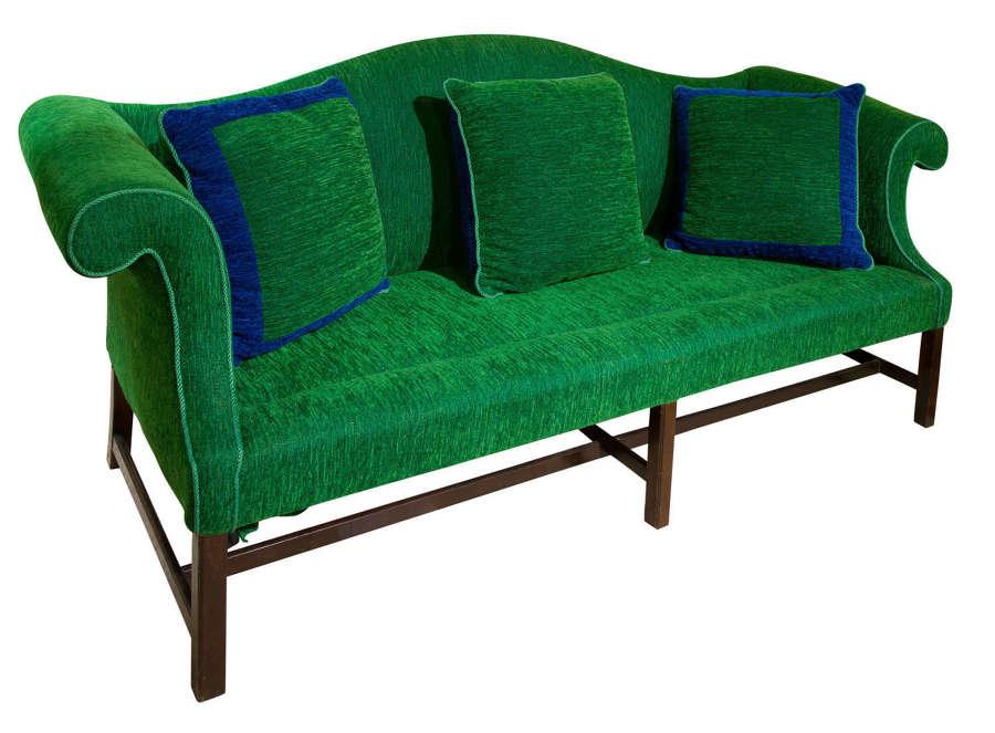 George III mahogany camel back sofa