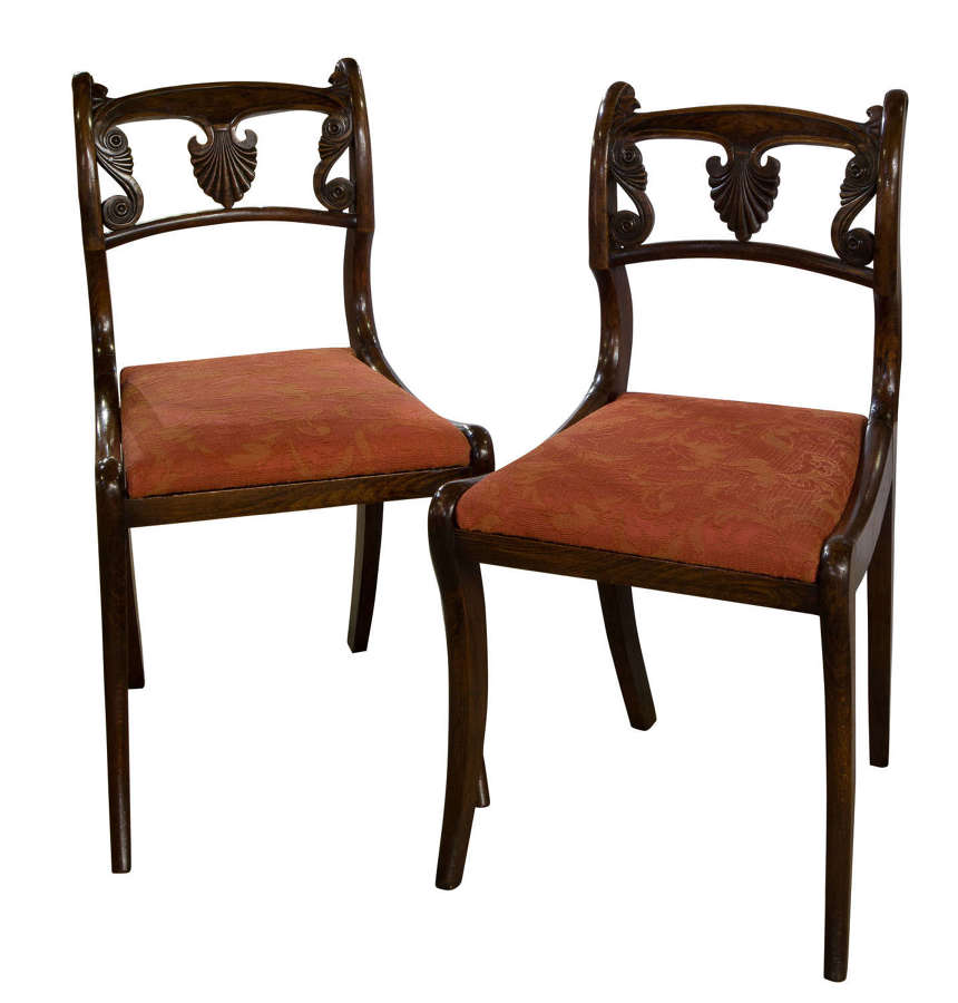 A Pair of Regency faux rosewood side chairs