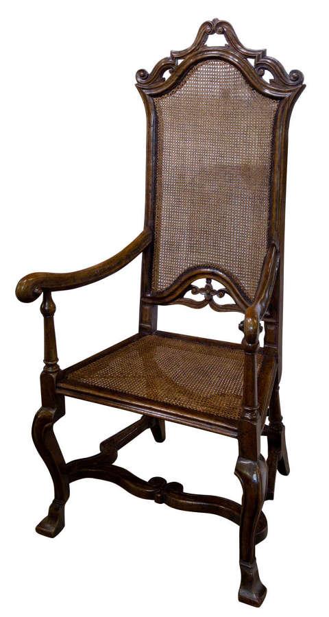 William & Mary walnut armchair c1695