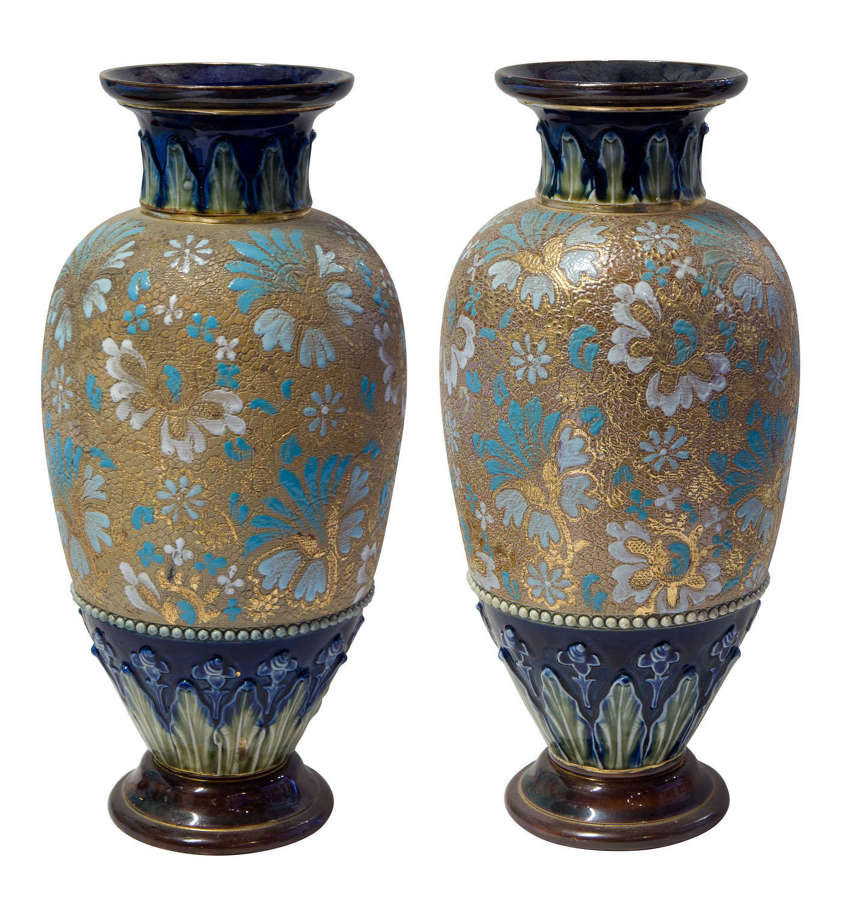 Pair of Doulton earthernware vases c1890