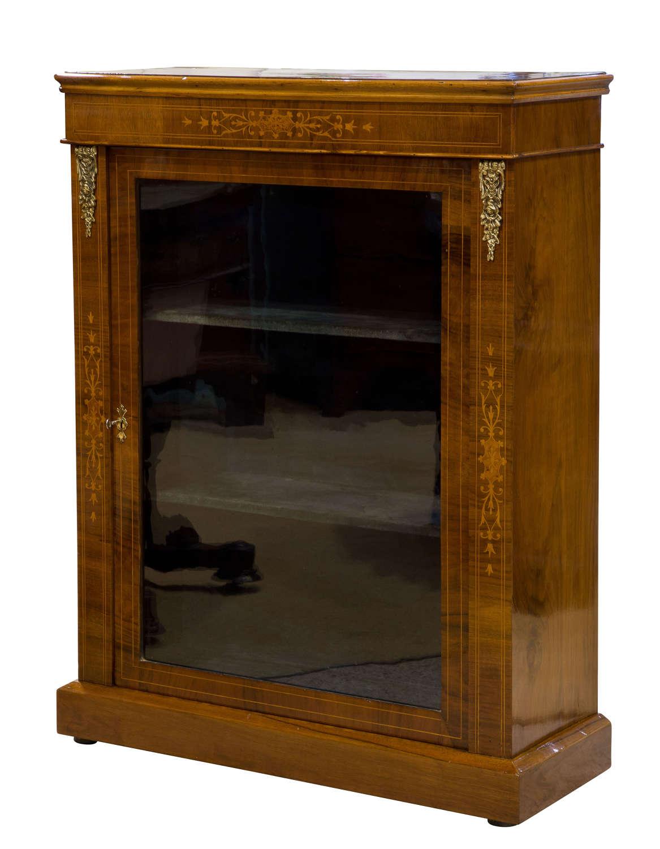 Victorian inlaid walnut pier cabinet