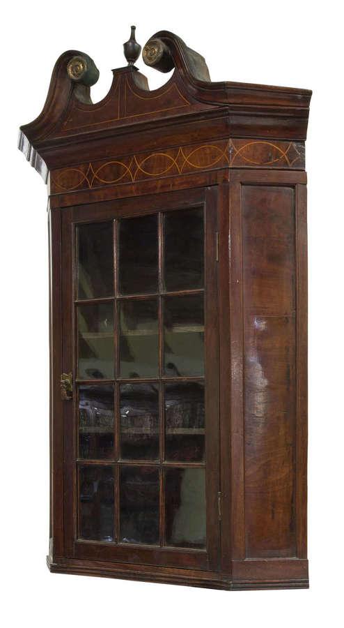 George III mahogany and glazed corner cabinet