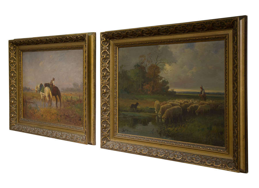 A pair of Late 19thC French Farming scenes