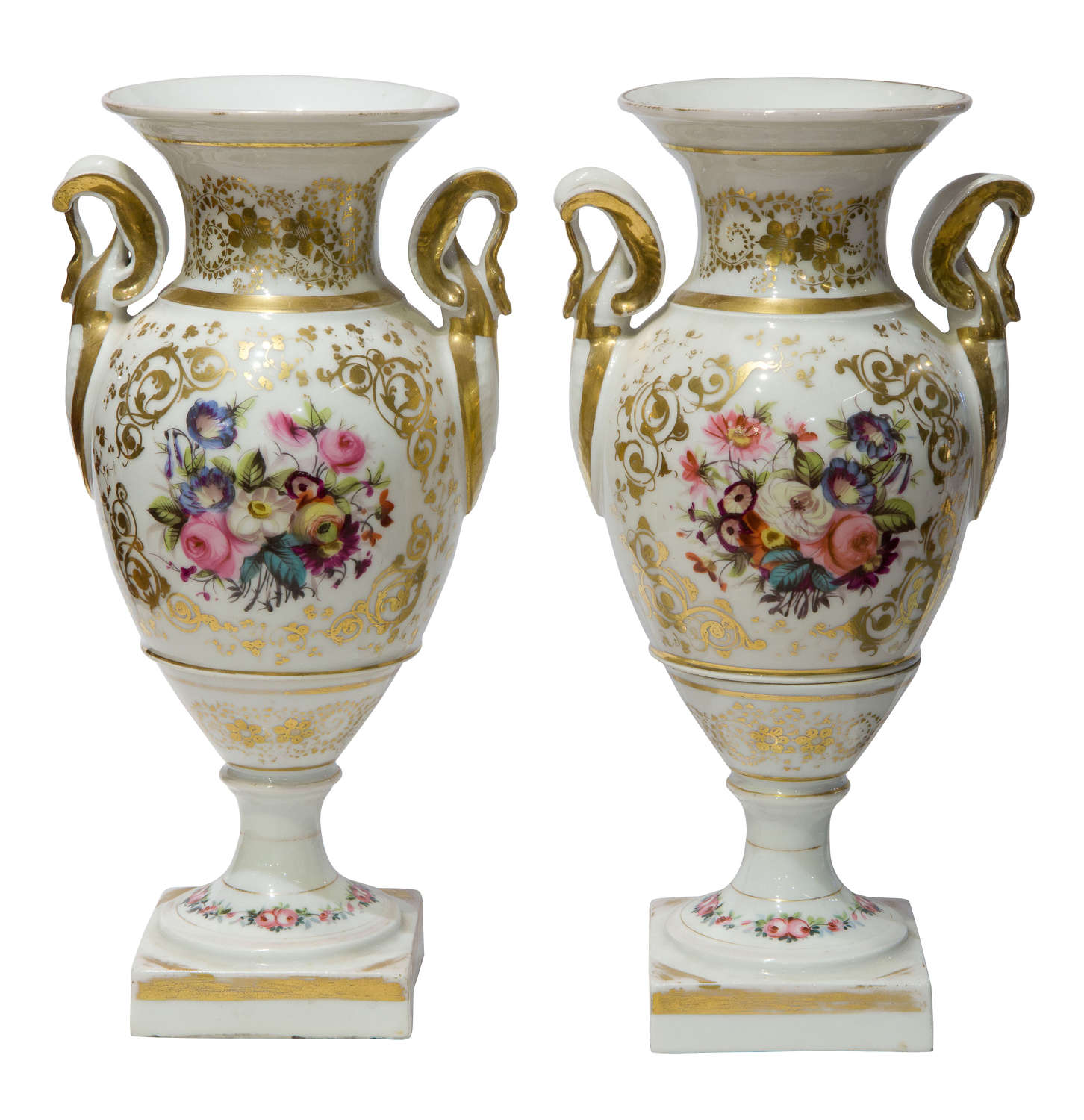 Pair of mid 19thCentury French porcelain vases