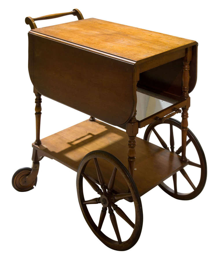 Vintage mahogany tea trolley with drop down flaps