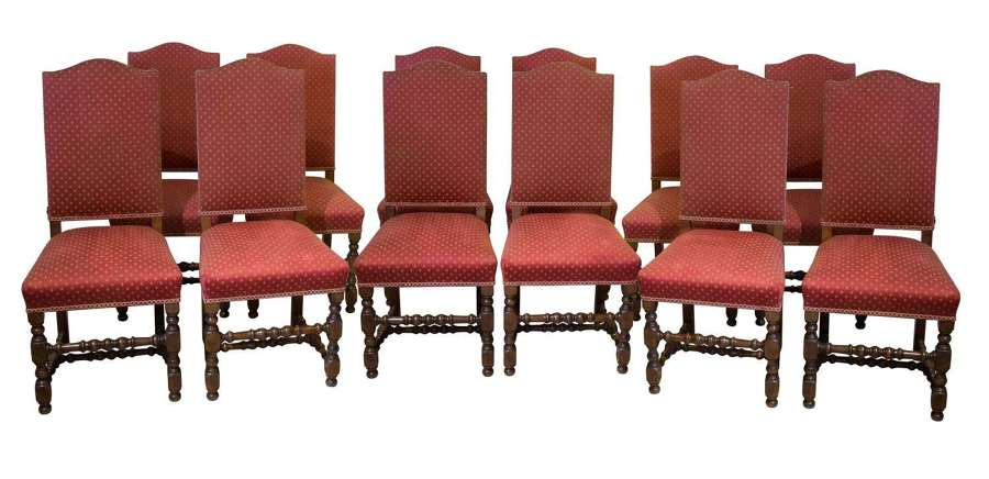 Set of 12 17thCentury style high backed chairs