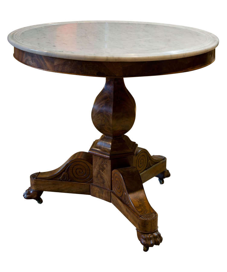 A good Charles X Gueridon with white marble top