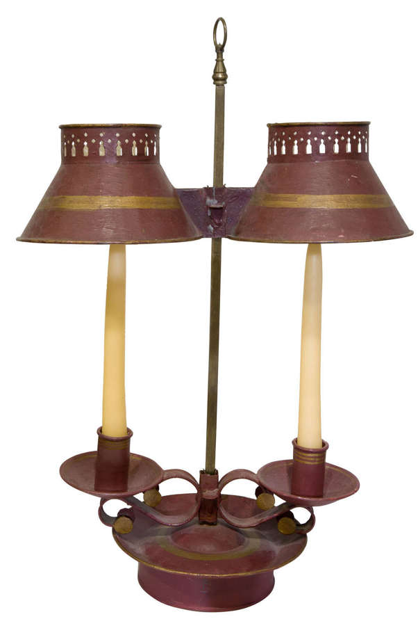 An old French student lamp for 2 candles