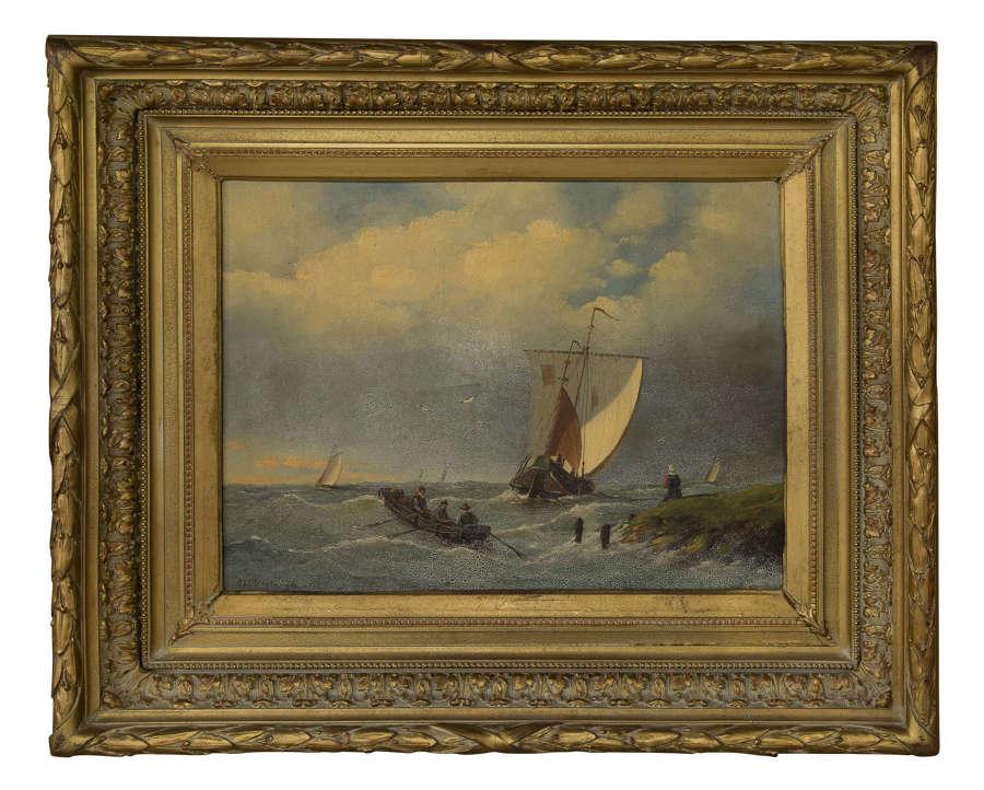 A Dutch oil seascape painting