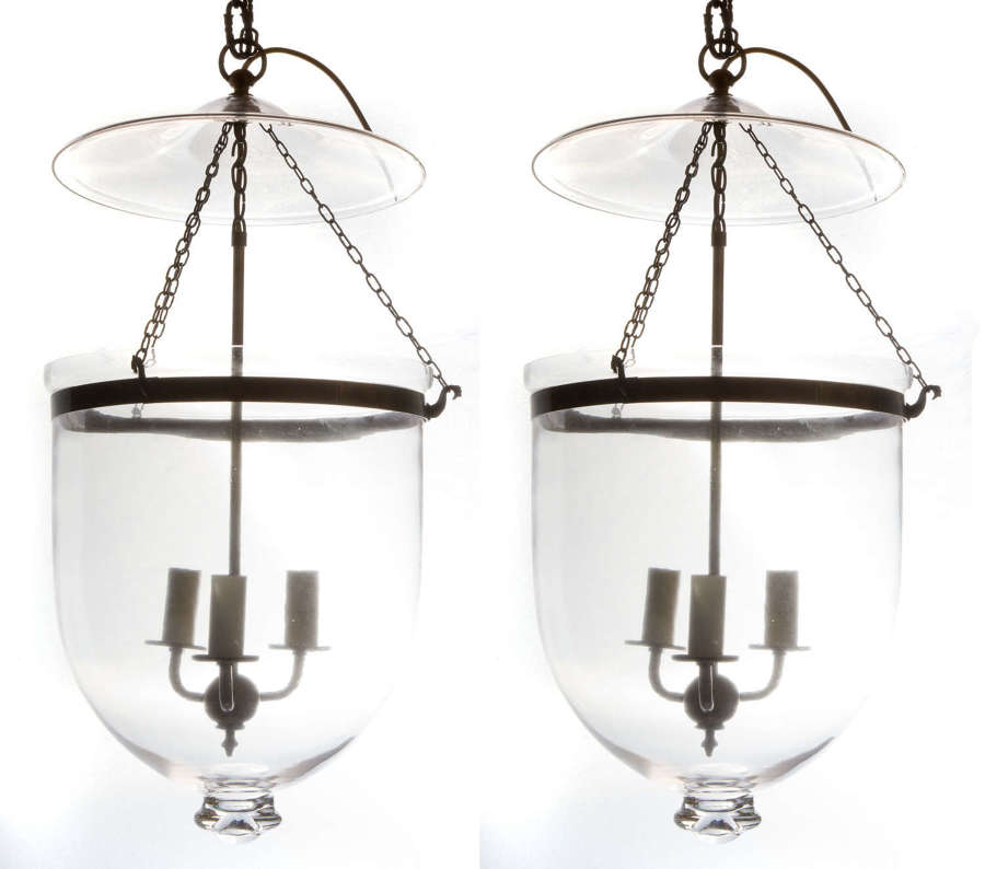 Glass and antique brass hanging bell lantern