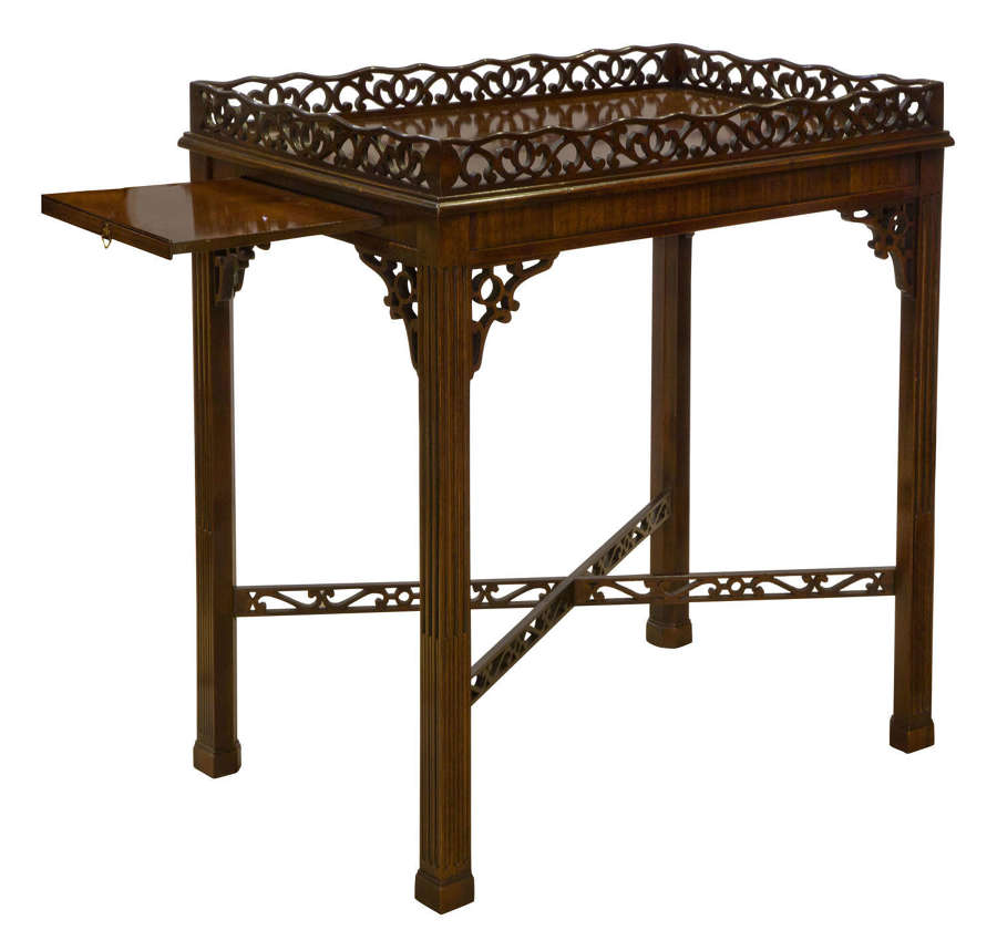 Chippendale style revival silver mahogany table