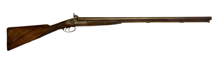 A Double Barrelled 12 Bore Percussion Fowling Piece