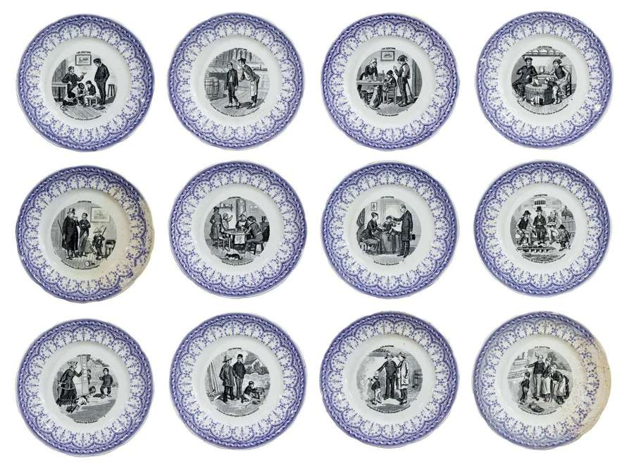 A numbered set (1-12) of french late 19th century pottery plates