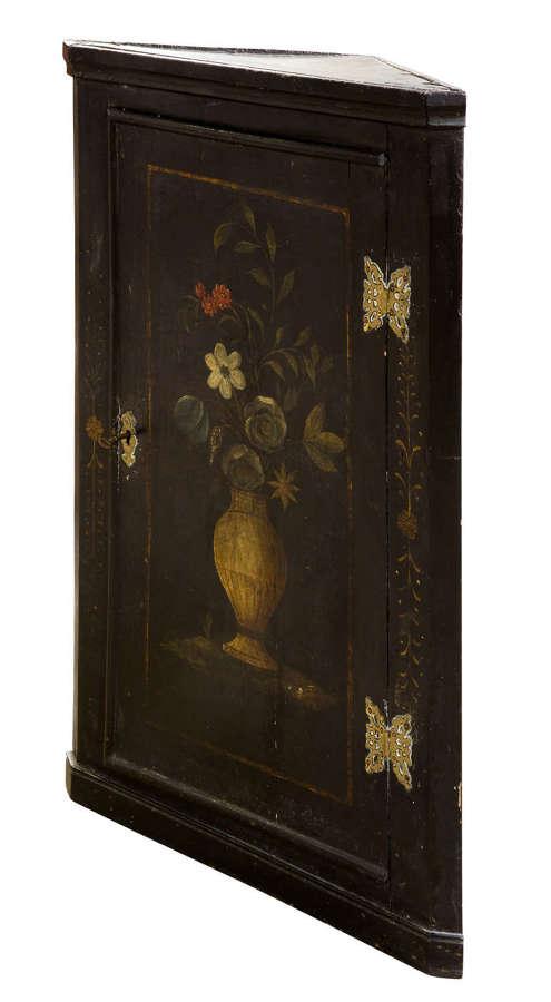Rare early Georgian decorated corner cupboard