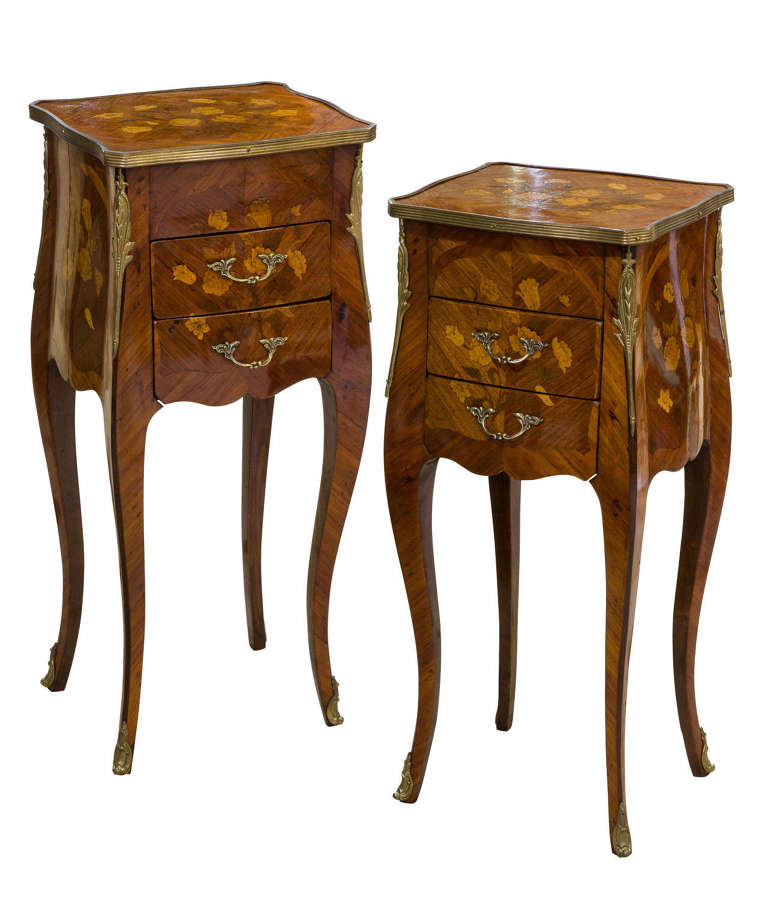 Fine Pair of French Tulipwood and Floral Marquetry Tables