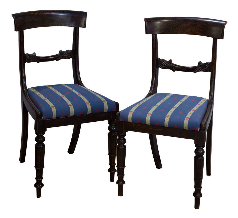 Pair of faux rosewood side chairs