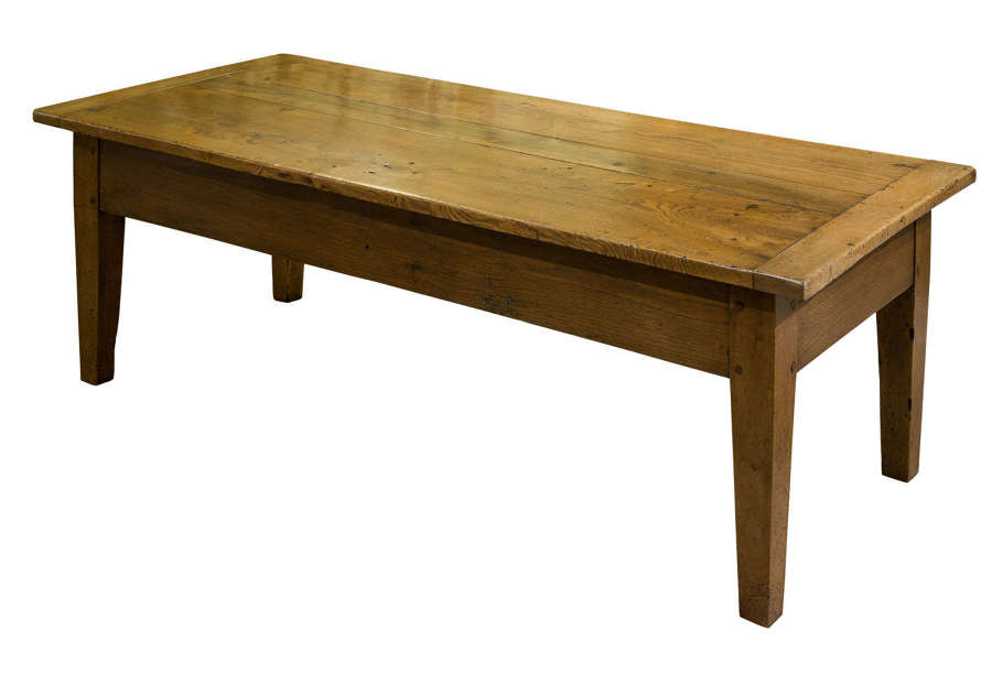 19th century long french elm coffee table with draw
