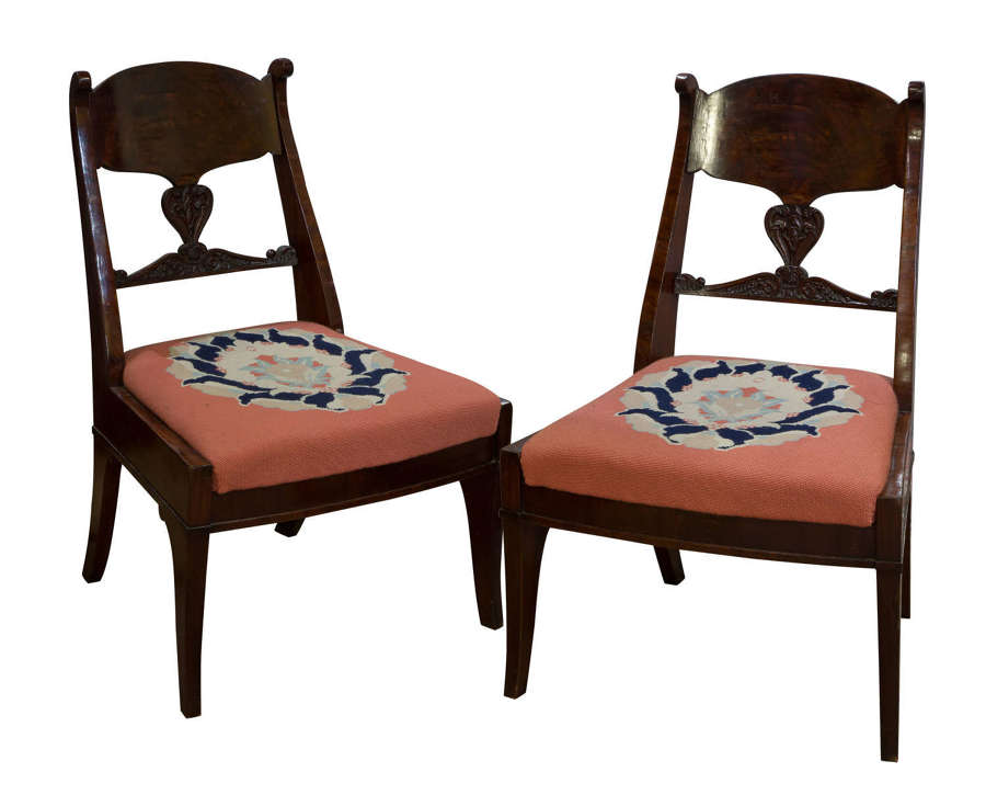 Pair of Russian mahogany side chairs