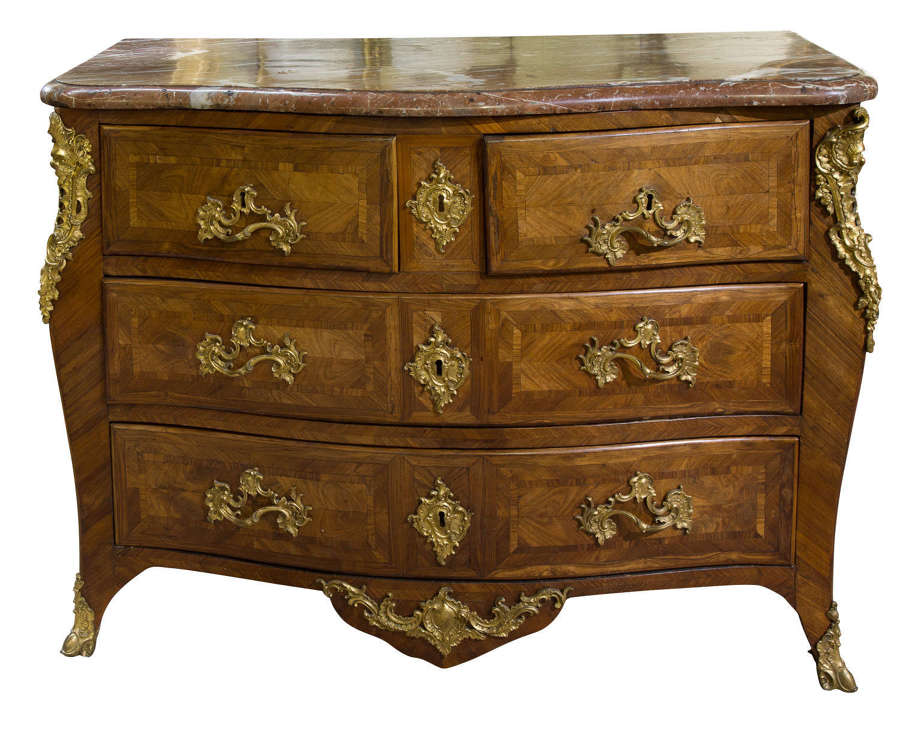A Louis XV Commode with associated marble top
