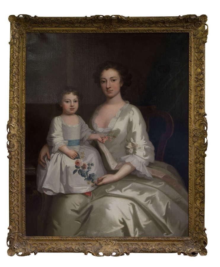 18th Century portrait of Mrs Gouldney & daughter
