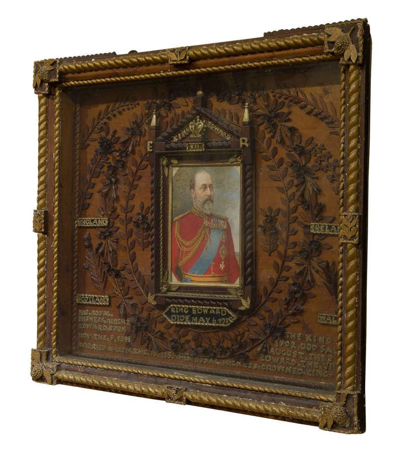 Box Framed Tabernacle Commemorative Tableau of King Edward VII