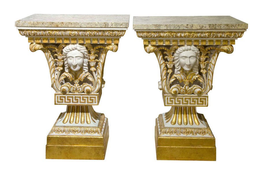 Pair of William Kent style marble topped small pier tables