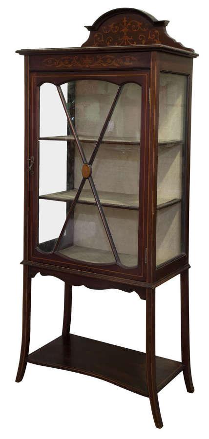 An Inlaid Edwardian Mahogany single Door Display Cabinet