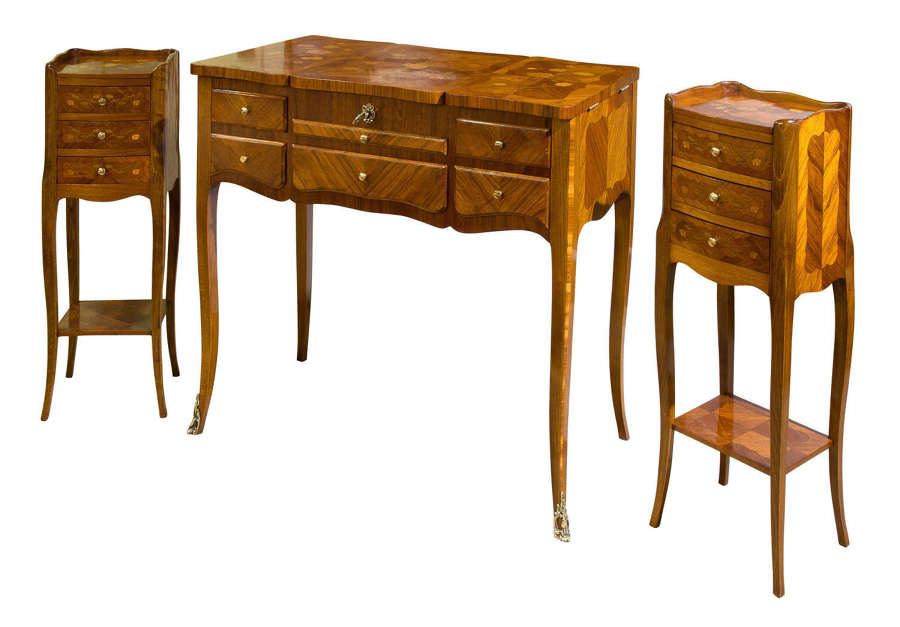 A Suite of French Walnut and Floral Marquetry