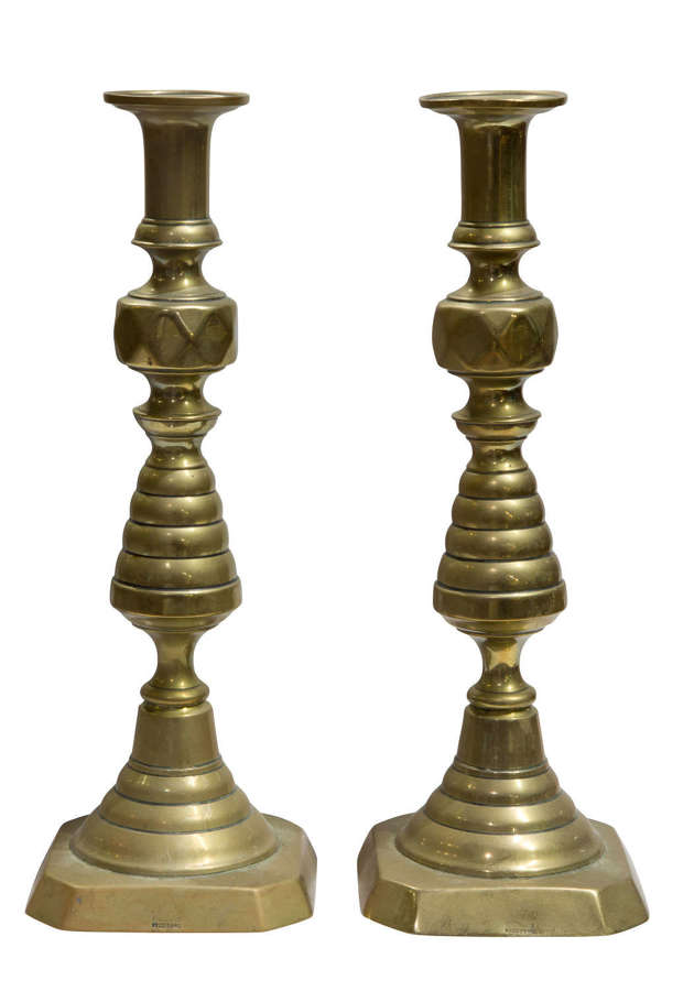 A large pair of Victorian Brass