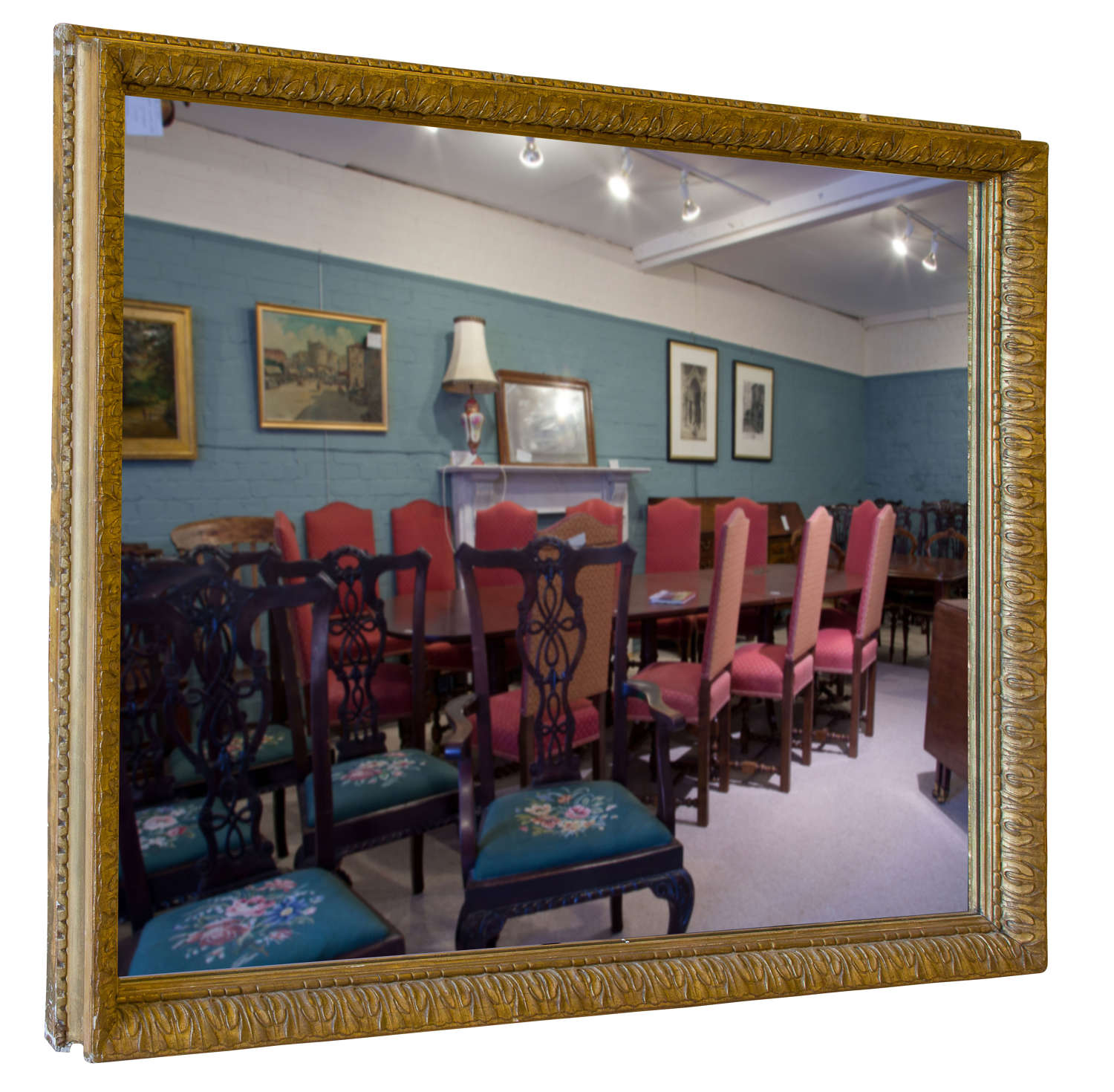 A large decorative giltwood wall mirror