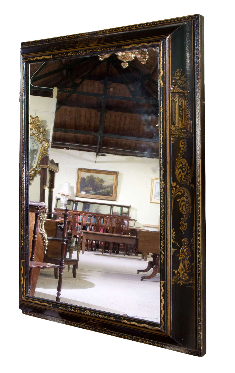 William & Mary style Black and Gold Japanned Cushion Mirror