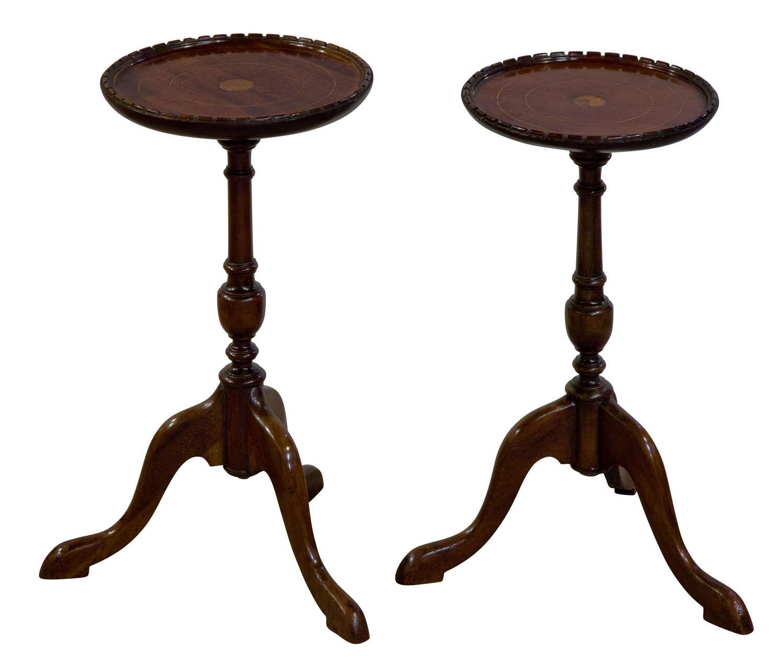 A pair of Edwardian mahogany and satinwood tables
