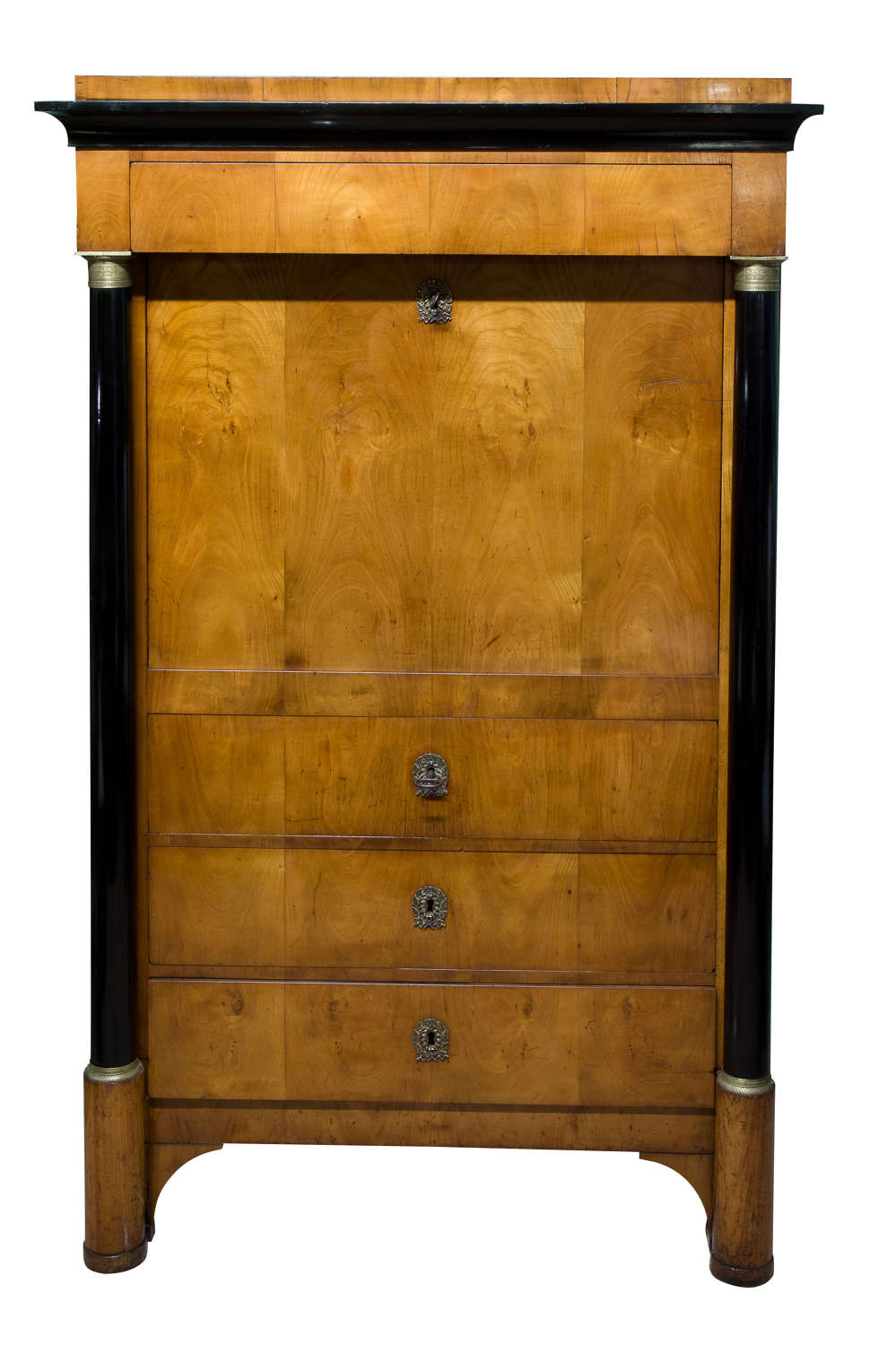 French Empire satinwood Secretaire a abattant
