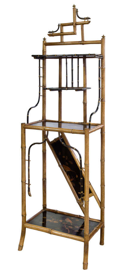 French aesthetic movement bamboo & lacquer etagere