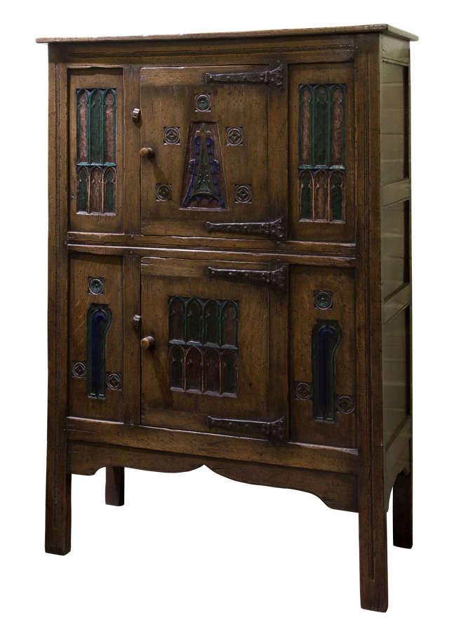 Arts & Craft Ipswich Oak Gothic Revival Cupboard